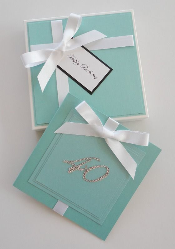 Boxed Birthday Card inspired by Tiffany Co just change the number