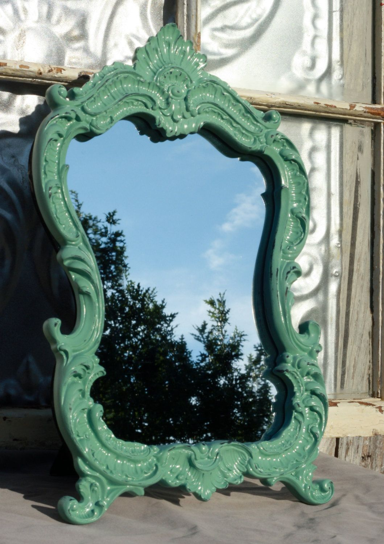 baroque ornate 8 x 10 distressed jade mirror frame/ wedding decor