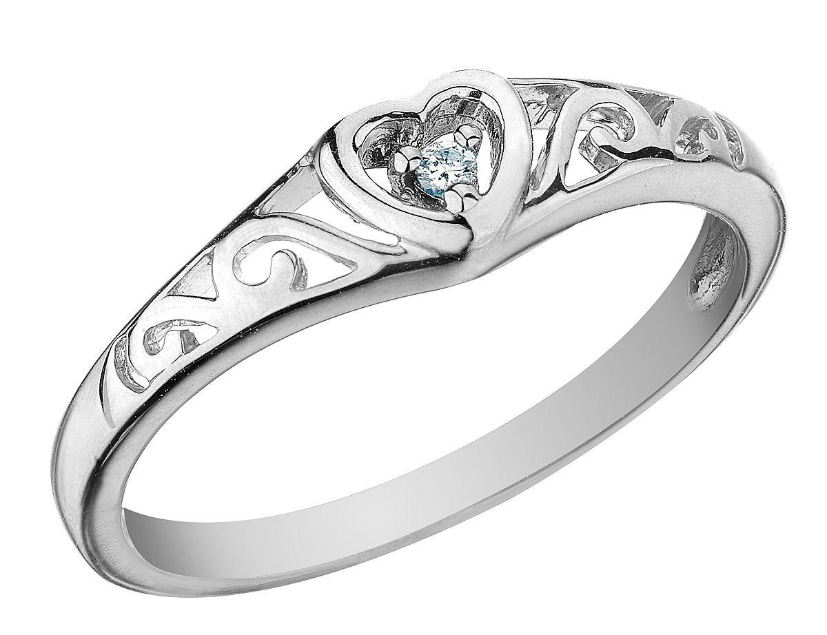 Diamond Heart Promise Ring in 10K White Gold