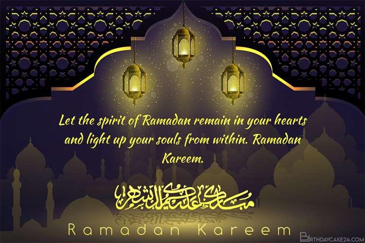 Customize Ramadan Mubarak Cards With Name Wishes In 2020 Ramadan Cards Ramadan Ramadan Mubarak