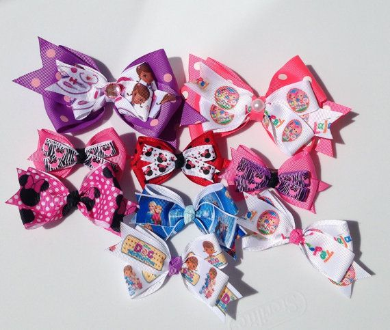 OVERSTOCK LOT SALE! 9 Character Bows Doc McStuffin inspired,Lala loopsyinspired,Minnie Mouse Inspired, Frozen Inspired,