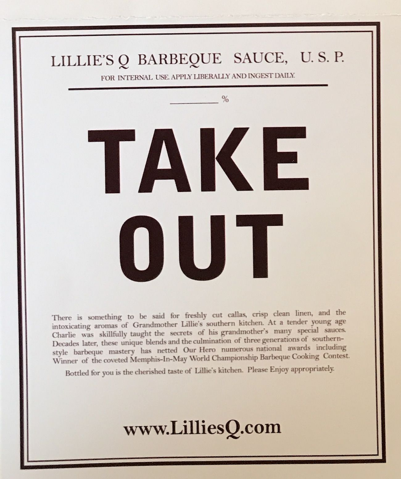 Lillies Q Barbeque Chicago Carry Out Menu Chicago Restaurant