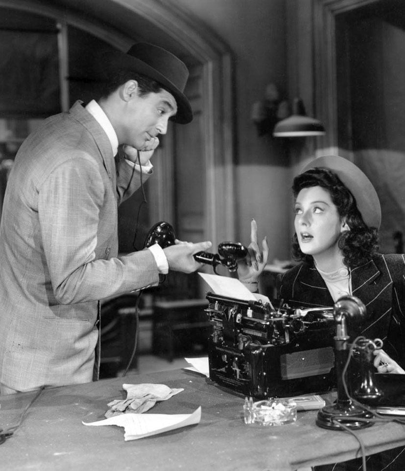"Cary Grant y Rosalind Russell en ""Luna Nueva"" (His Girl friday), 1940"
