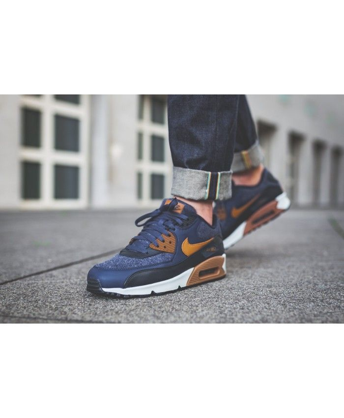 Nike Air Max 90 West Men's Shoes Dark Blue Grey Orange