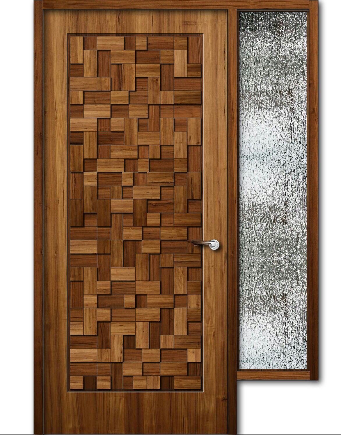 Teak wood finish wooden door with window 8feet height for Wooden main doors design pictures