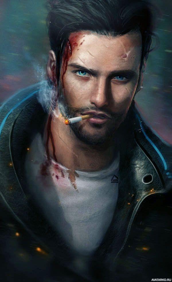 Мужчина с кровью на лбу и сигаретой во рту — Картинки и ...