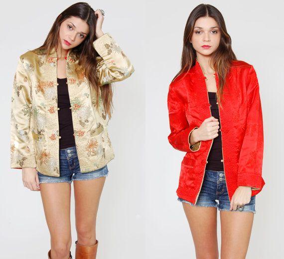 Vintage 80er Jahre Seide Kimono Jacke REVERSIBLE Brocade Floral Rot & Gold asiatischen Boho kurzer Kimono-Jacke