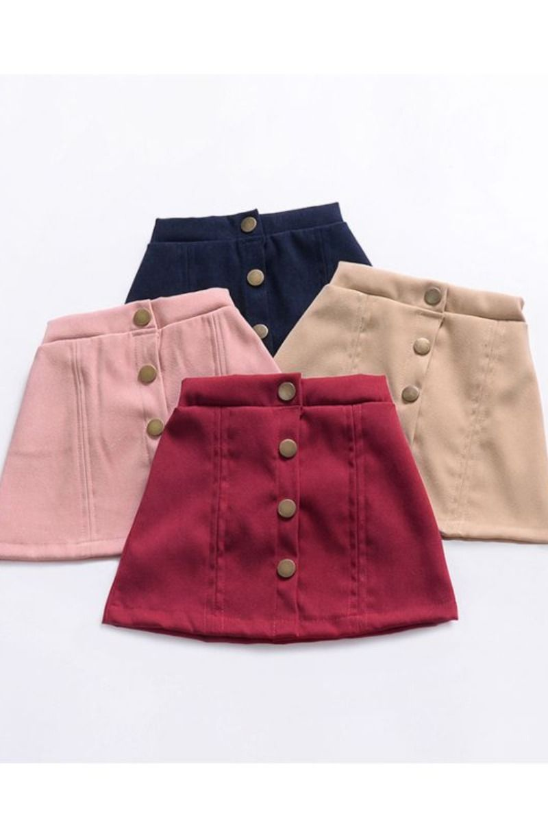 Stylish Buttoned Solid Color A-line Skirt