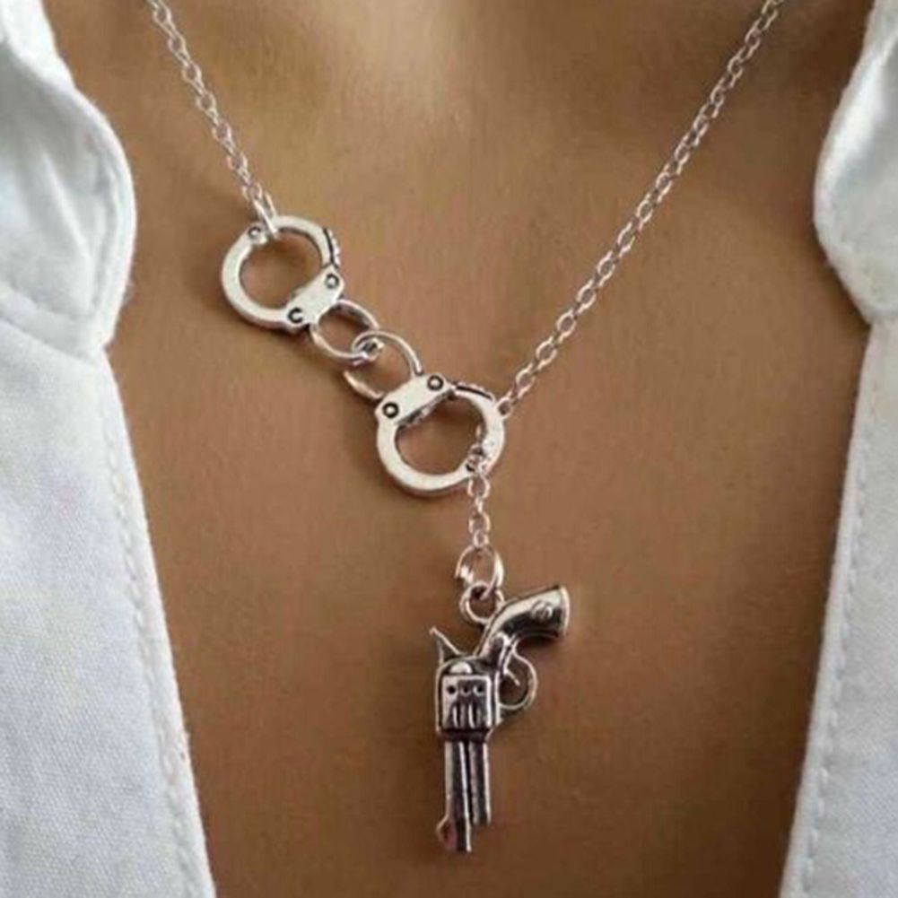 Men women chic handcuffs lariat necklace couple punk chain jewelry