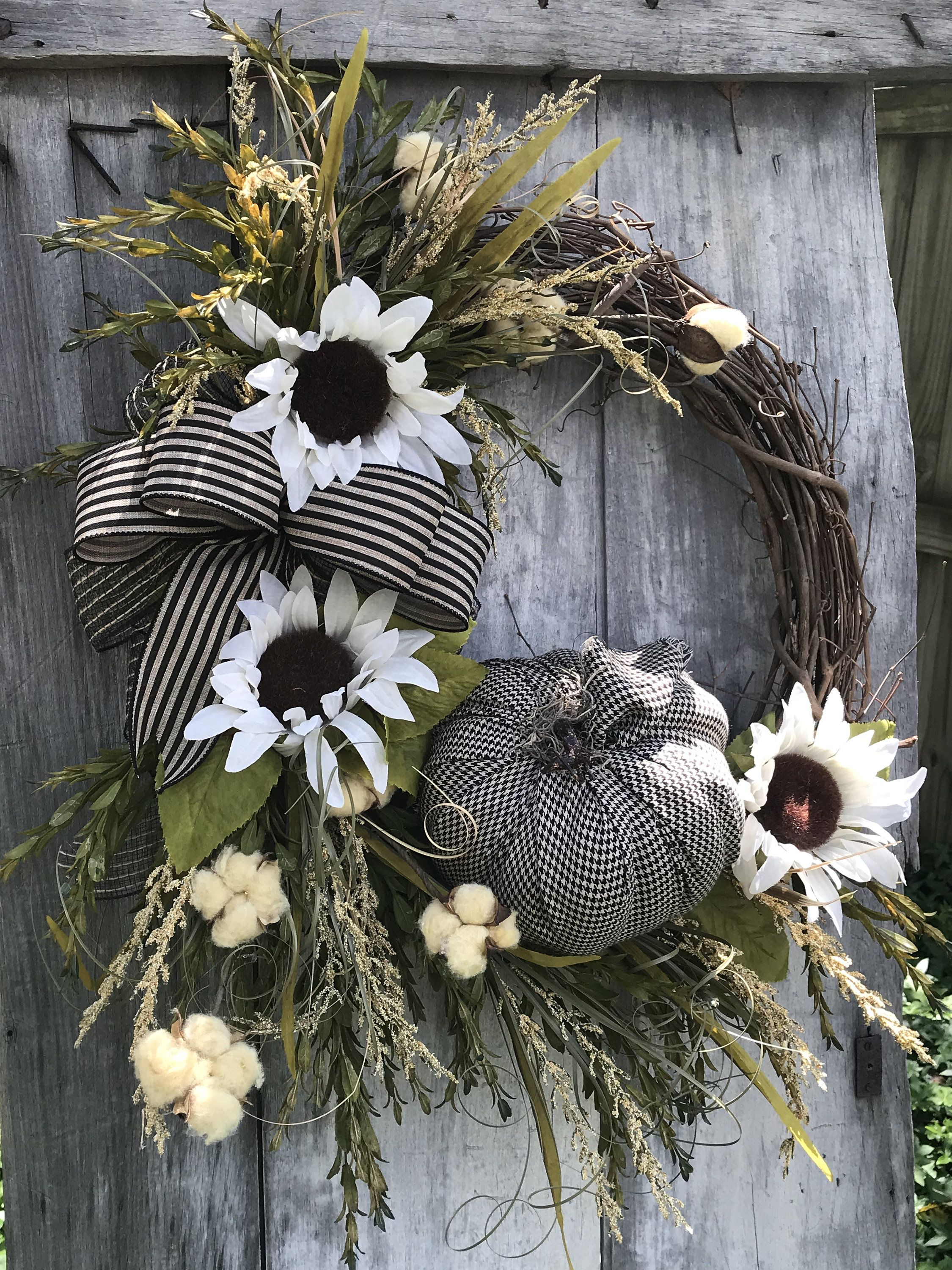 Photo of Beautiful Fall White Sunflower wreath for your Front door, Autumn Wreath for front door, Fall wreath with pumpkin, Sunflower wreath, fall