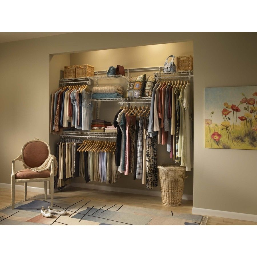 Lowes wire shelving systems for closets - Closetmaid 5 Ft To 8 Ft White Adjustable Mount Wire Shelving Kits 8809