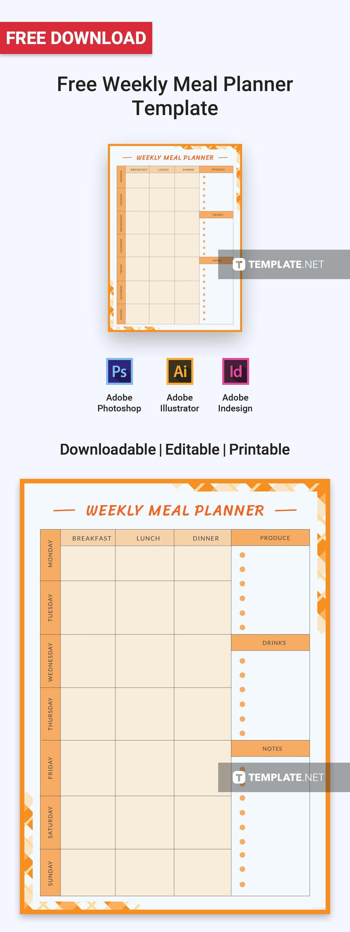 Free Weekly Meal Planner Planner template, Weekly meal
