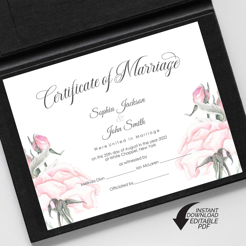 Editable Wedding Certificate Template Printable Certificate Of