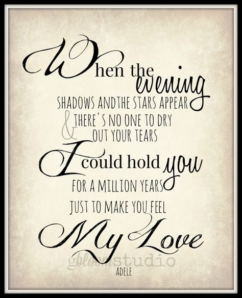 Adele Lyric Art Print Make You Feel My Love 8x10 Song Lyric Art