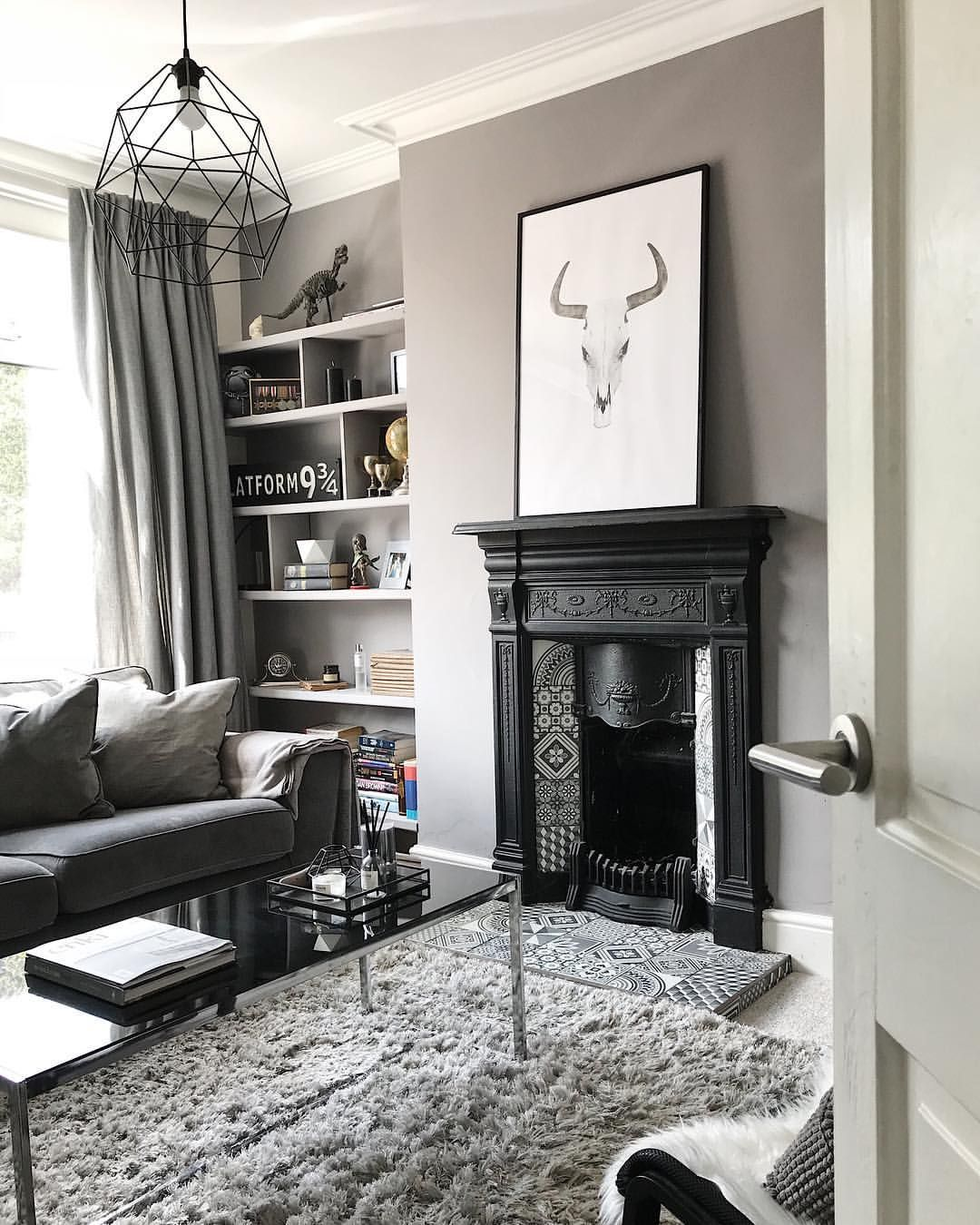 Cast Iron Fireplace In Living Room Featuring Grey Decor Living