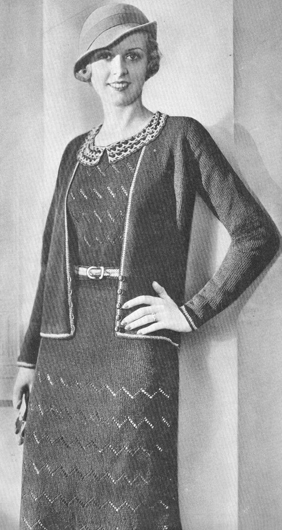 Vintage 1930s Lacy 2 Piece Frock Dress And Jacket Jumper Knitting