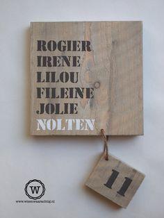 Wonderbaarlijk Mooi steigerhout naambord voordeur| Gratis verzenden | Naambord YS-61