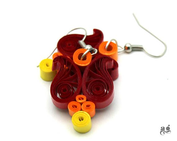 Cute owl earring paper quilling earrings st anniversary paper