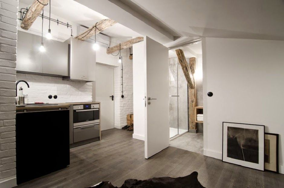 {Interiores} Estudio de 17 metros con decoración industrial