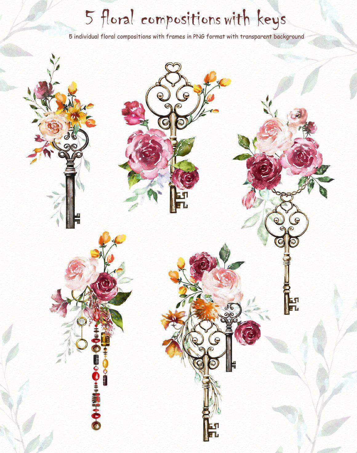 Watercolor Flower Clipart Design Set Key Tattoo Designs Key Tattoos Flower Clipart