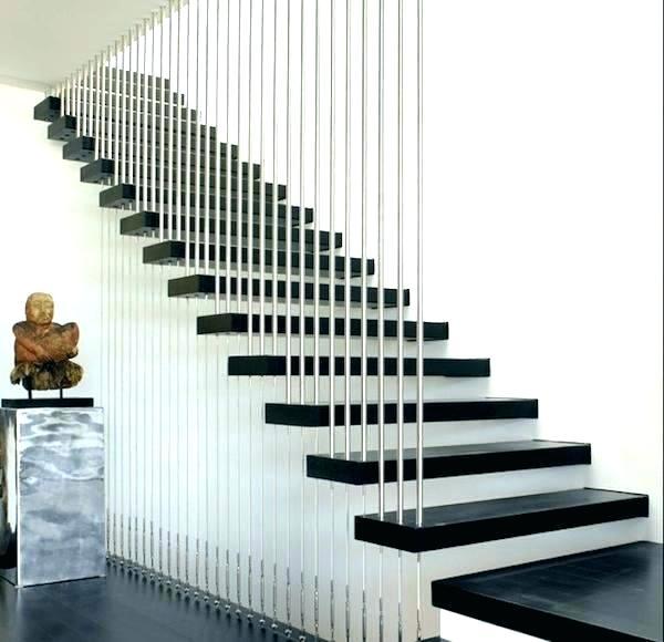 Interior Open Riser Black And White Staircase