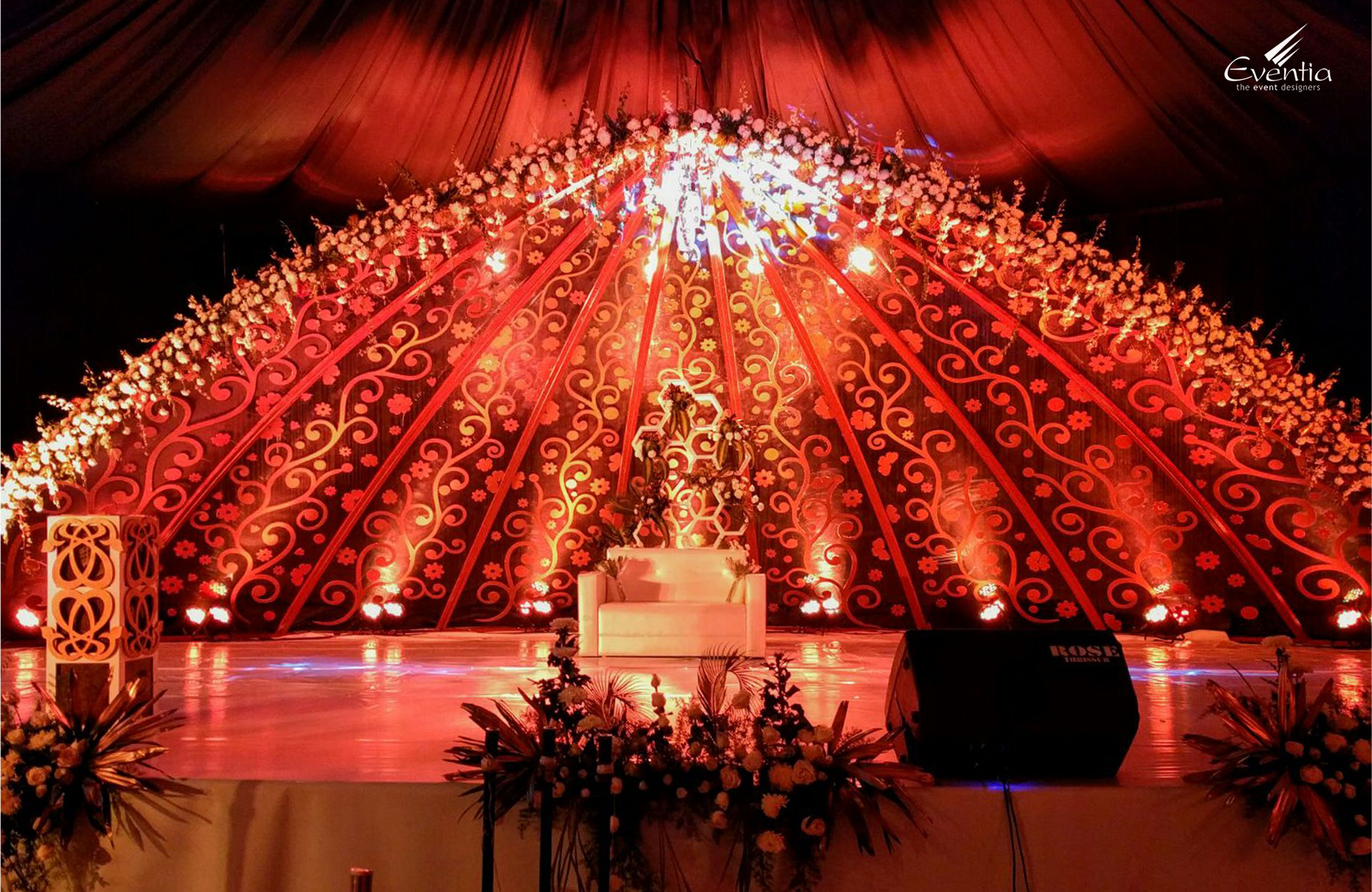 Pin by Eventia Event Designers on Wedding Stages Wedding hall decorations Wedding stage decor