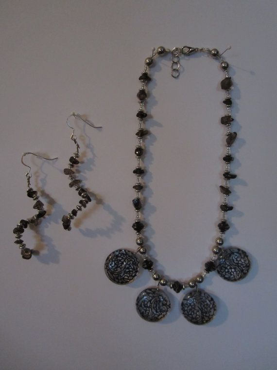 Black Design Necklace and Earrings by StylishlyHandmade on Etsy, $30.00