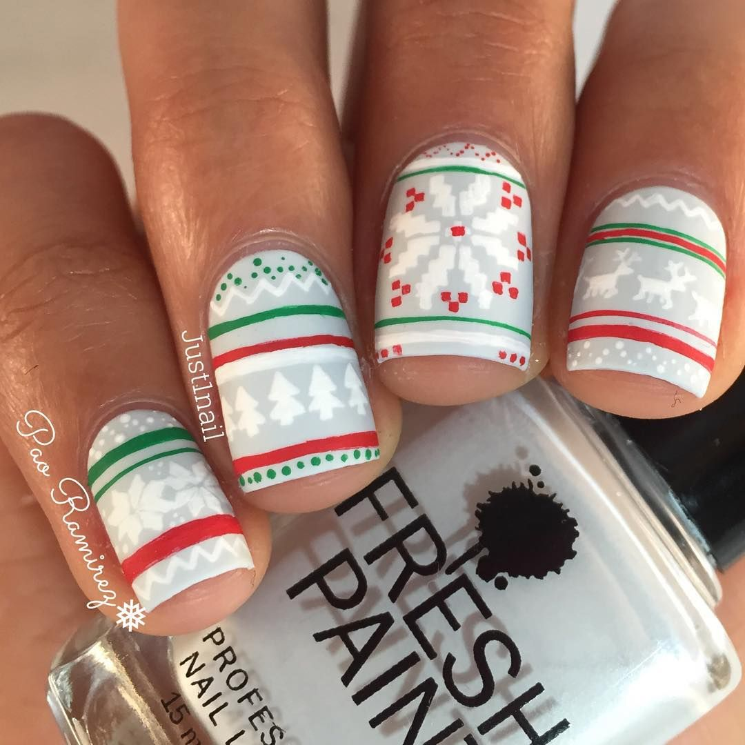 Ugly Christmas Sweater Nails Fresh Pain Firefly With White Green And Red Acrylic