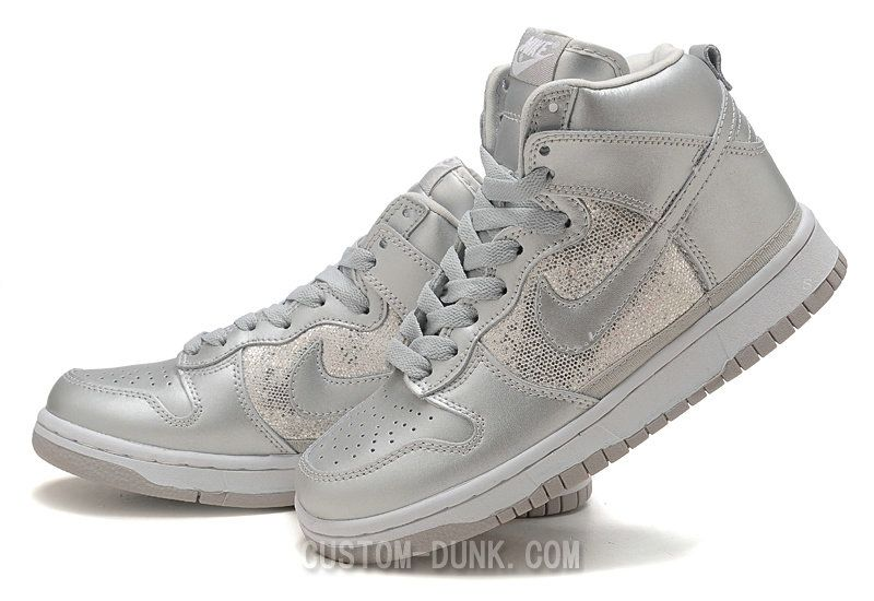 Custom Nike Dunk Silver Sequin Sneakers High Top For Women