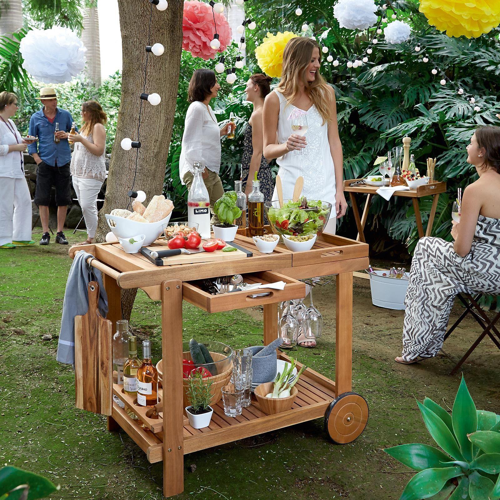 barbecue trolley mit zwei herausnehmbaren tabletts akazienholz 100, Gartengerate ideen