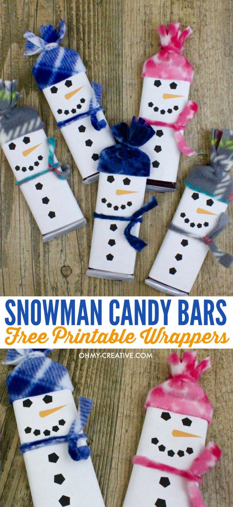 Snowman Free Printable Candy Bar Wrapper Template Classroom