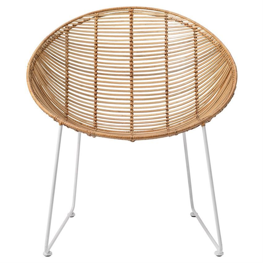natural braided rattan lounge chair with white metal frame by