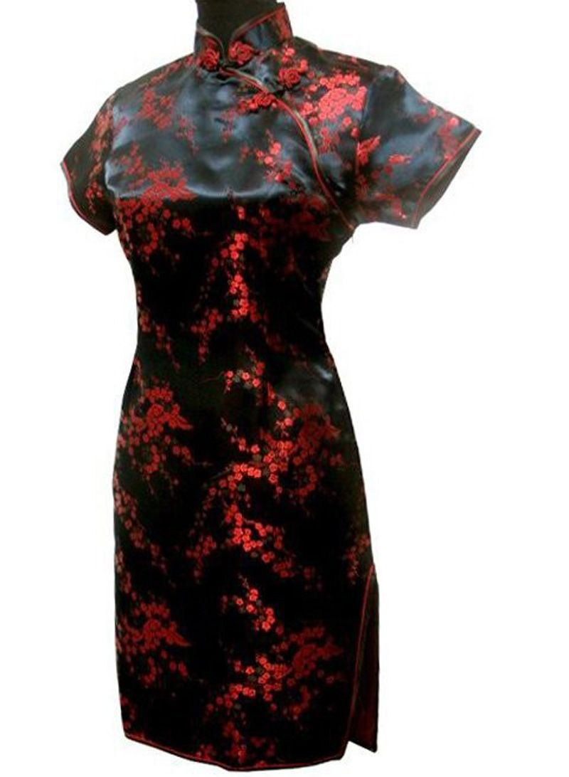 Womenus formal evening party short qipao dress silk mini cheongsam
