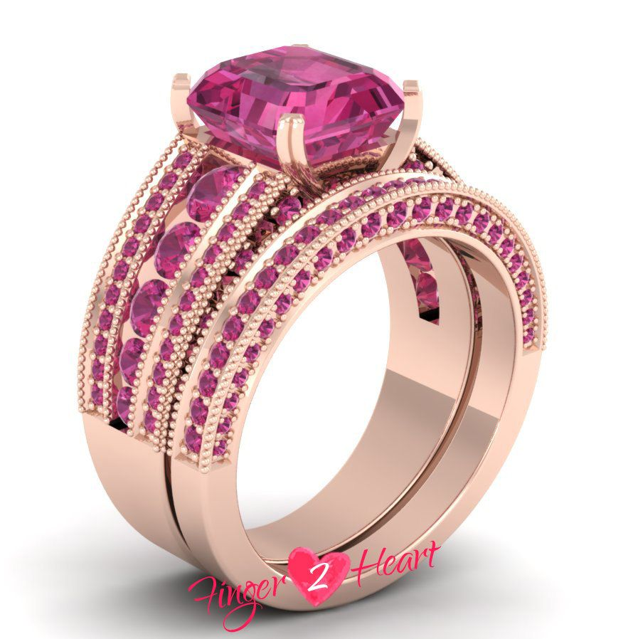 3.10 Ct CZ Pink Sapphire Princess Wedding Ring Set 925 Sterling ...