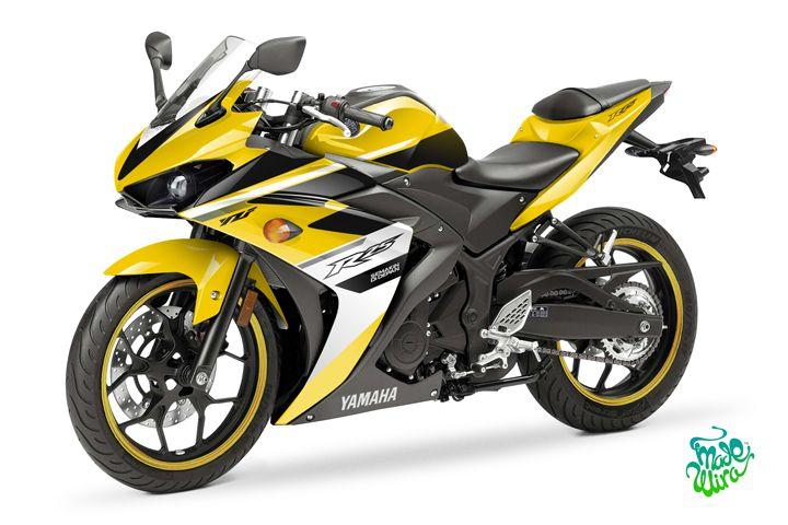 Yamaha yzf r25 r3 racing yellow decals pinterest for Yamaha yzf r25