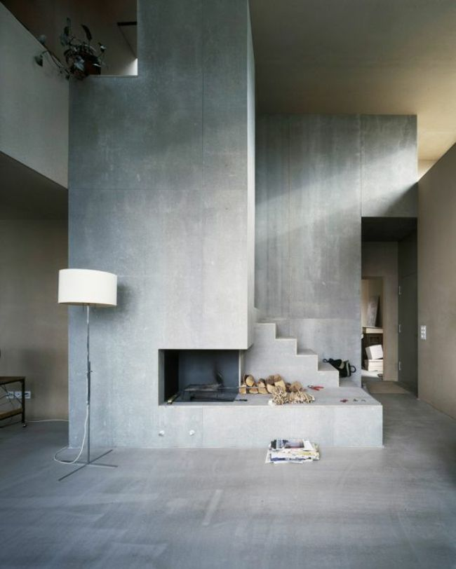 le b ton ou la griffe tendance du design contemporain s jour tendance mur en beton et chemin e. Black Bedroom Furniture Sets. Home Design Ideas