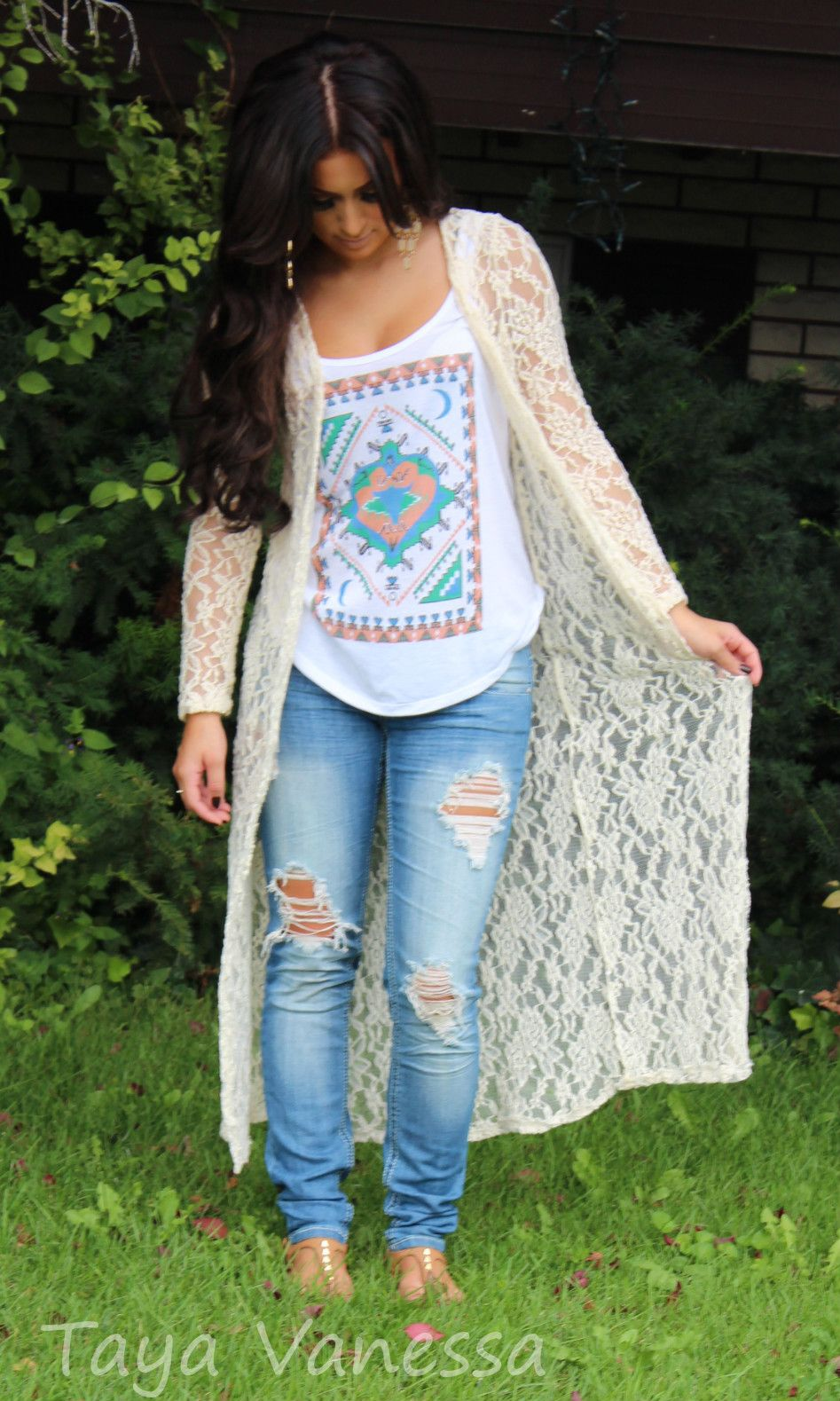 Aztec tank, ivory lace duster cardigan, ripped jeans   fashion ...