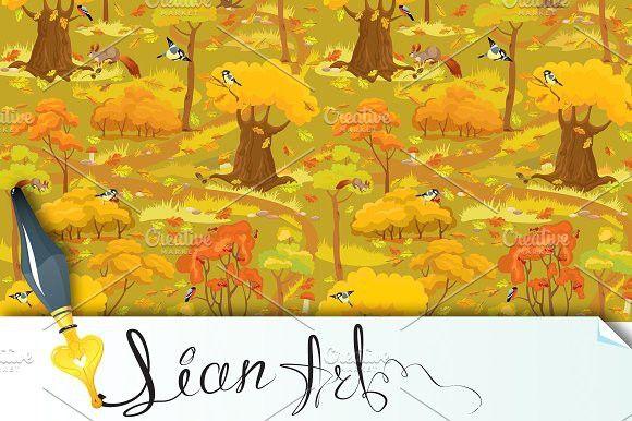 Seamless pattern - Autumn Forest. Patterns. $5.00