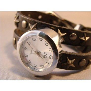 $14.95 eBracelets Double Wrap Black Leather Watch w/ Stars Charm, Leather, Wrap Bracelets