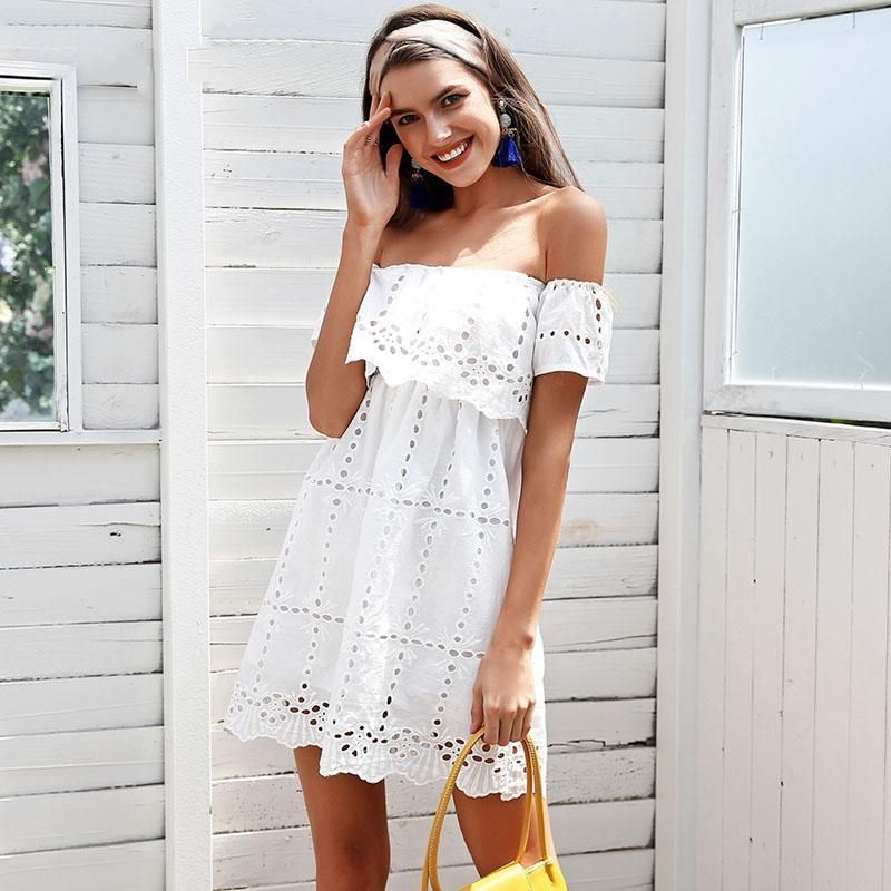 59c506a6ea Ilona White Eyelet Mini Dress in 2019