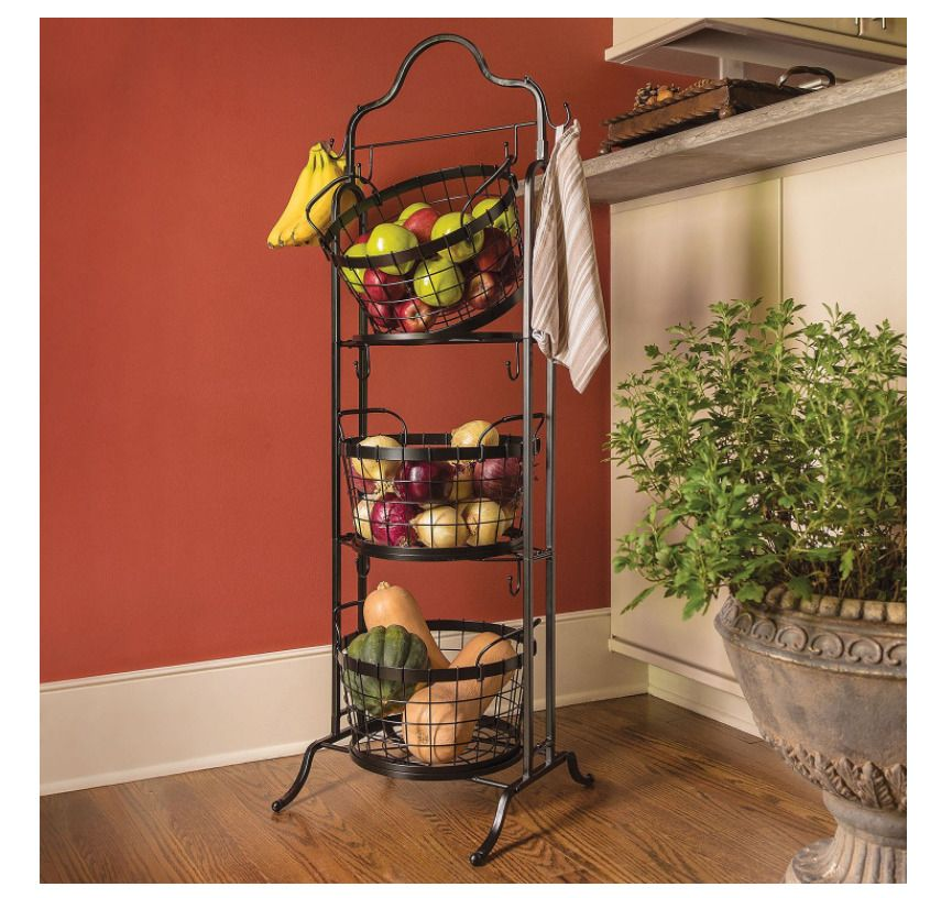 3 Tier Floor Stand Bushel Basket Decorative Kitchen Food Storage Basket Holder Bushel Baskets Tiered Basket Stand Farmhouse Style Decorating