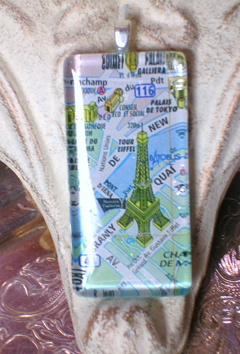 Domino Size Glass Tile Pendant Eiffel Tower on Map of Paris