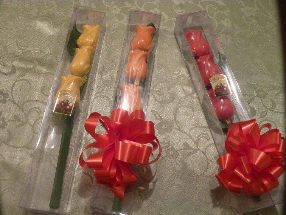 Lindas rosas de chocolate