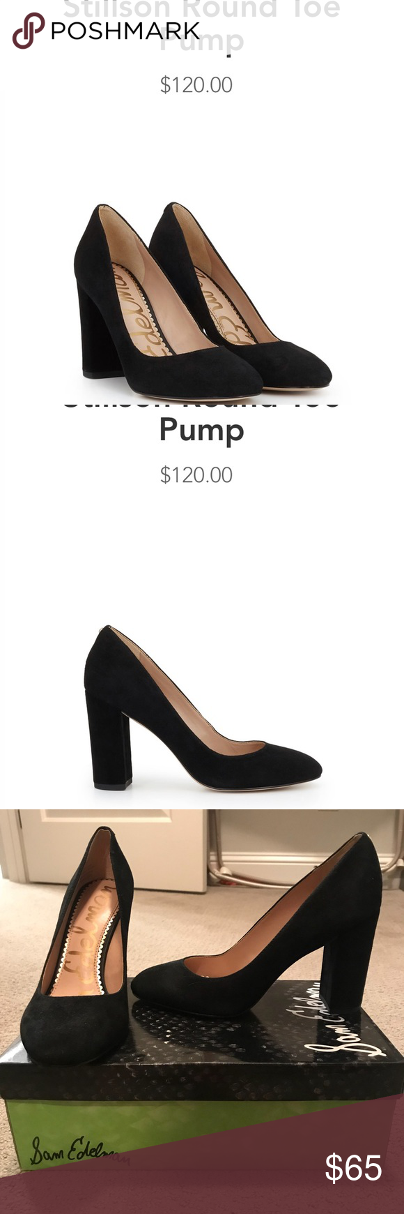 "e762ec54b0fc Sam Edelman Stillson Block Heel Pumps Brand new in box black suede round  toe block heel pumps. 3.5"" heel. Sam Edelman Shoes Heels"