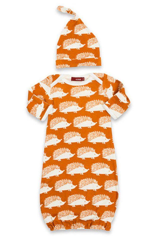 Milkbarn Newborn Gown and Hat Set - Orange Hedgehog | babies ...