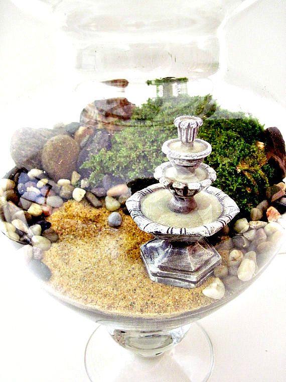 Giant Sized Terrarium Table Centerpiece Apothecary Jar Secret Garden Scene Miniature Water Fountain Extra Large Plant