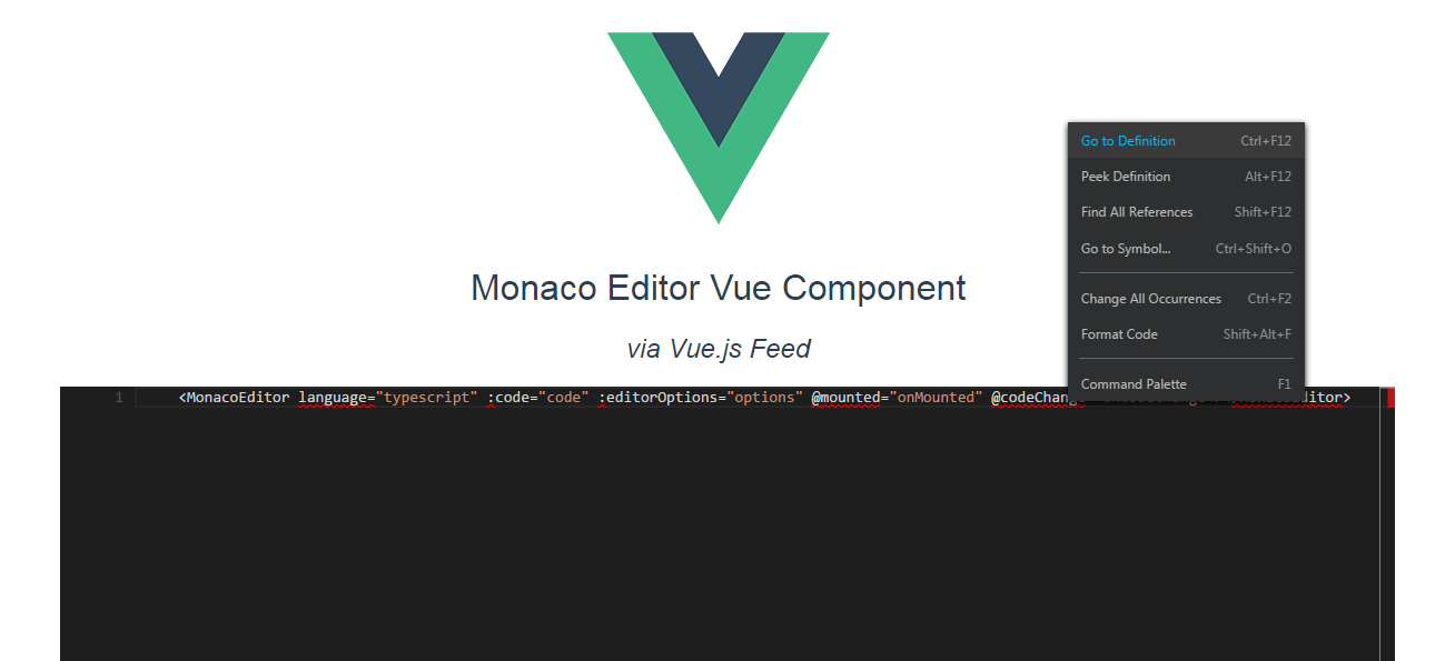 Working on a Monaco Editor Vue component | programming