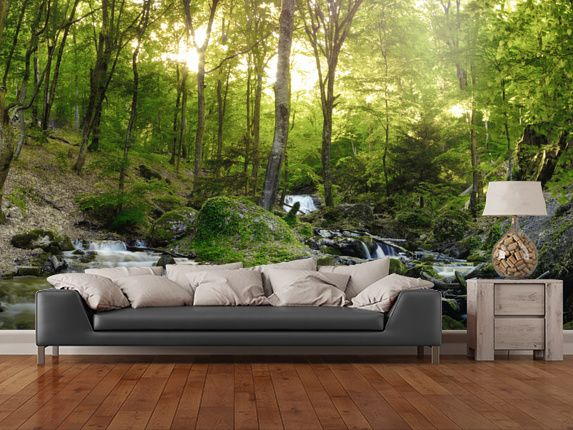forest waterfall walls pinterest schlafzimmer tapeten und wand malen. Black Bedroom Furniture Sets. Home Design Ideas