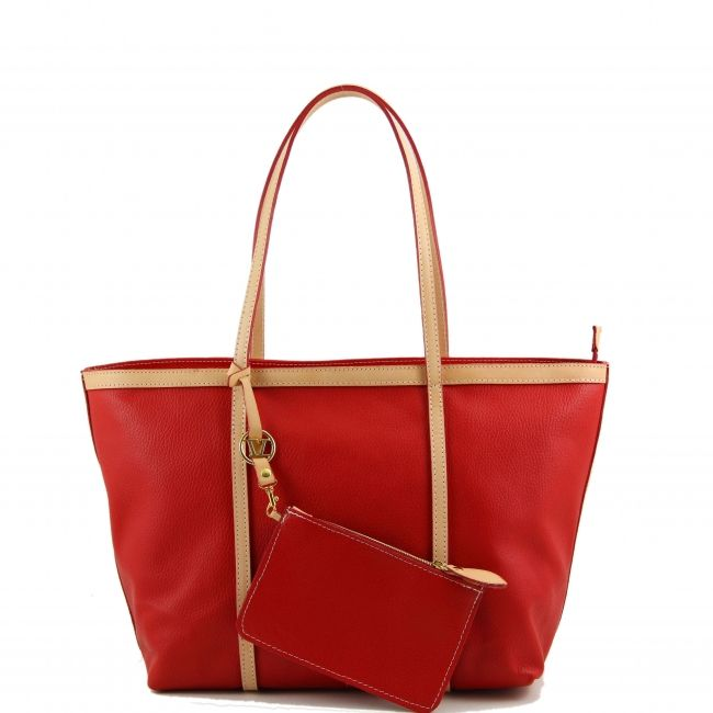 Italiaanse leren shopper / boodschappentasHet buitenmateriaal is van geribbeld leer. Deze boodschappentas heeft een robuuste structuur.Deze shopper heeft een bijpassende afneembare kleine tas met ketting. -