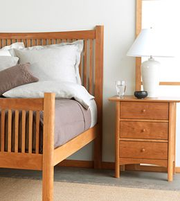 modern shaker bed made from solid cherry wood
